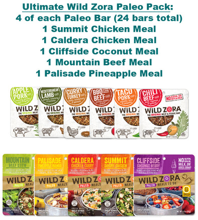 Ultimate Wild Zora Paleo Pack - 4 of Each Paleo Bar (24 bars total), 1 Cliffside Coconut Meal, 1 Palisade Pineapple Meal, 1 Mountain Beef Meal, 1 Summit Chicken Meal, & 1 Caldera Chicken Meal