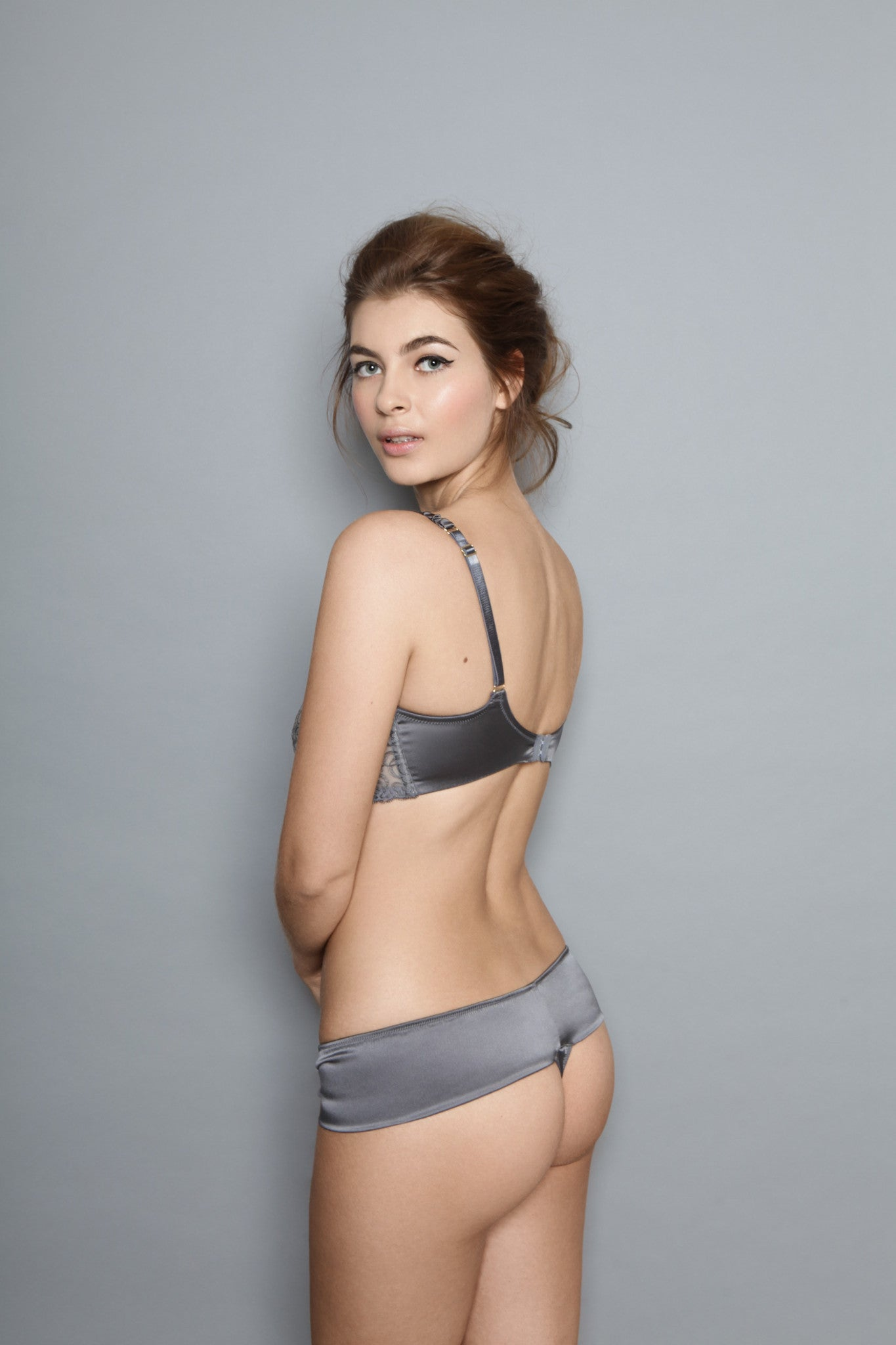 Adina Reay | Grey Bra | Luxury Lingerie | Grey Bra Brief Set
