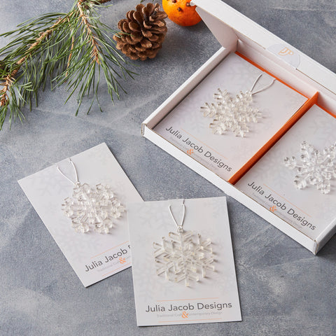 Snowflake Christmas Decorations Set of Six