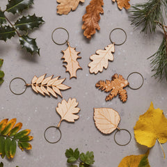 Wooden Leaf Decorations - Set of Six