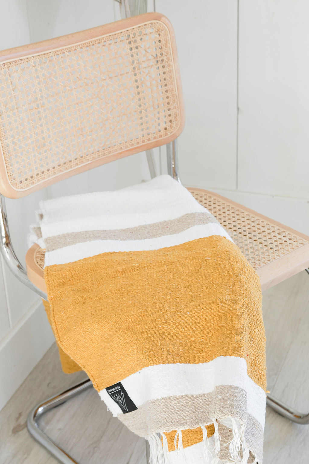 The Marseille: Mustard Yellow, Tan & White Striped Mexican Blanket