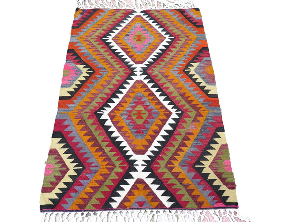 Handwoven Turkish Kilim Rug in Bright Colors: Red, Orange, Black & White