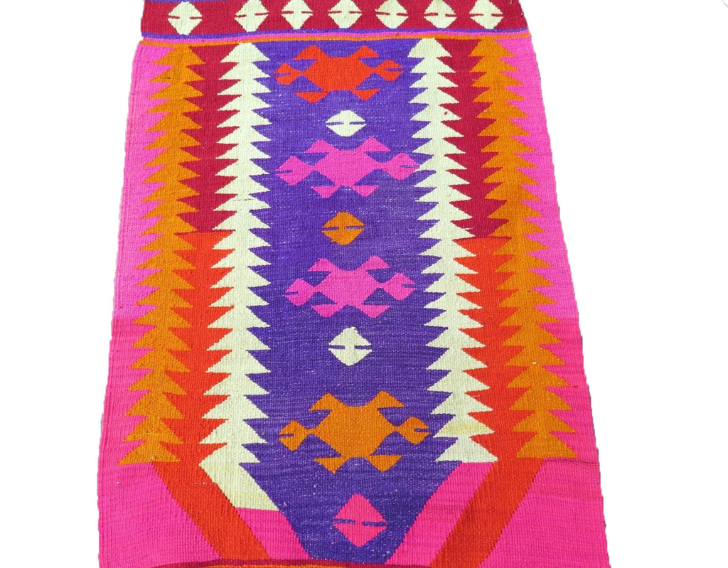 Fabulous Handwoven Turkish Kilim Rug in Bright Neon Colors: Hot Pink, Red  MH74