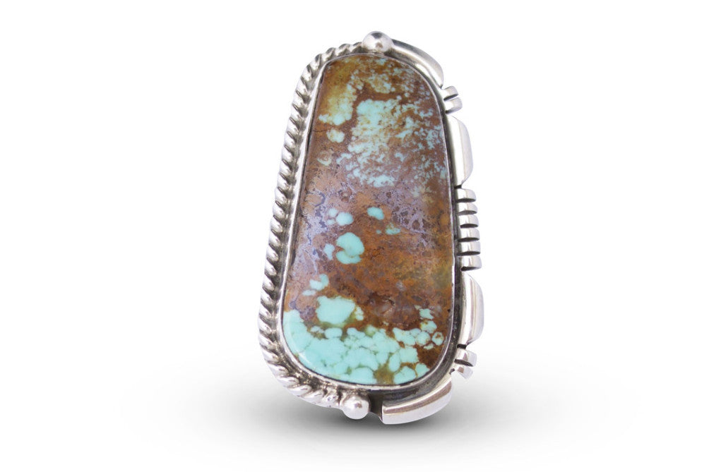 NATIVE AMERICAN NAVAJO MADE GREEN TURQUOISE & STERLING SILVER UNIQUE STATEMENT RING