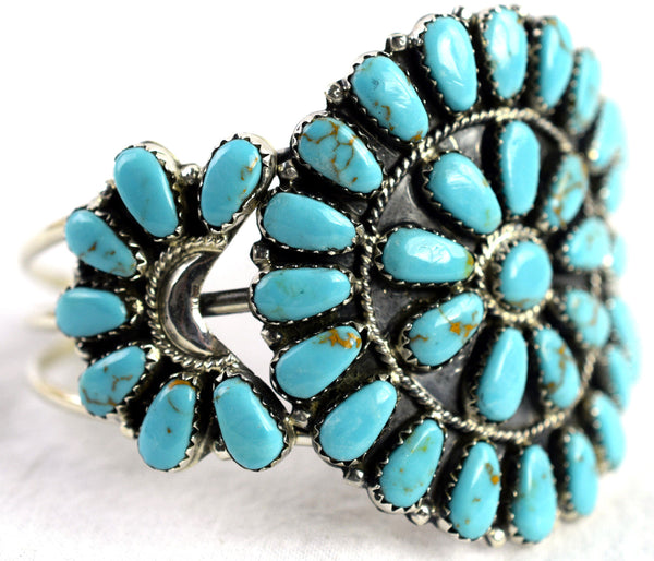 VINTAGE ZUNI STYLE TURQUOISE & STERLING SILVER CUFF BRACELET BY JUDE PERRY
