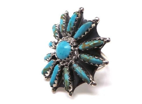 VINTAGE ZUNI STYLE CURVED TURQUOISE & STERLING SILVER STARBURST RING