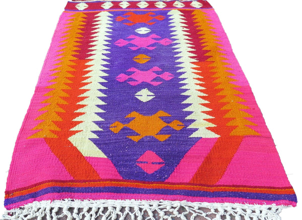 Handwoven Turkish Kilim Rug in Bright Neon Colors: Hot Pink, Red, Orange & Yellow