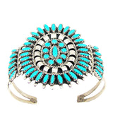 VINTAGE ZUNI STYLE TURQUOISE & STERLING SILVER BRACELET - NAVAJO MADE