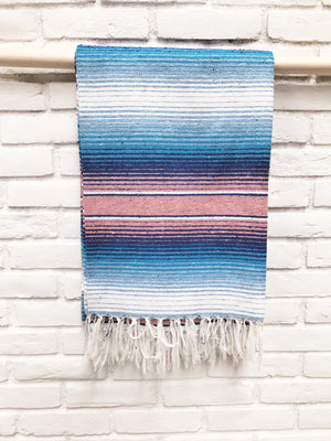 Pink + Blue Serape Blanket - 1 Available