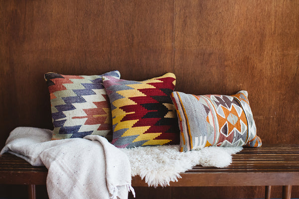 Vintage Pastel Faded Geometric Lumbar Turkish Kilim Pillow