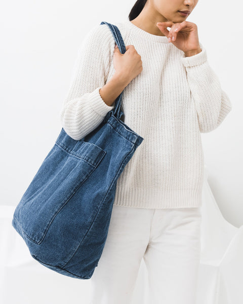 Large Pocket Denim Tote Bag