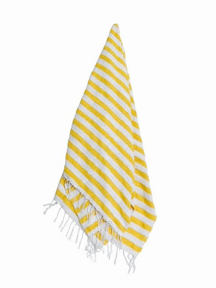 The Cocoa Beach: Yellow & White Striped Mexican Blanket