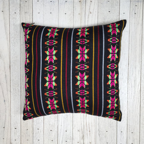 GEOMETRIC RAINBOW PILLOW - BLACK - SAMPLE SALE