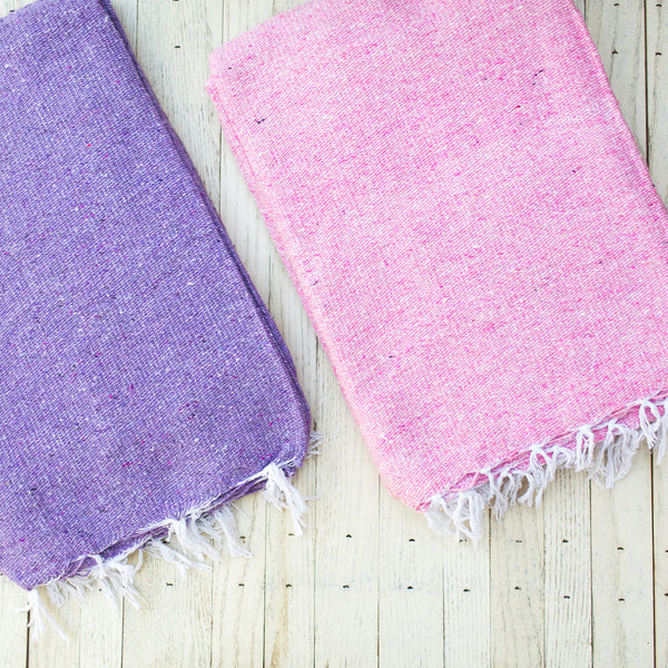SERENITY: PASTEL LAVENDER SOLID MEXICAN BLANKET