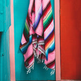THE NEPTUNE: BRIGHT PINK & MULTI-COLORED MEXICAN SERAPE SALTILLO BEACH BLANKET