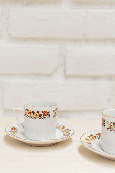 Vintage Chinese 60s / 70s Floral Tea Cup + Saucer Set