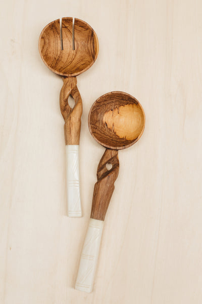 Twisted Kenyan Olive Wood Salad Servers with Bone Handles