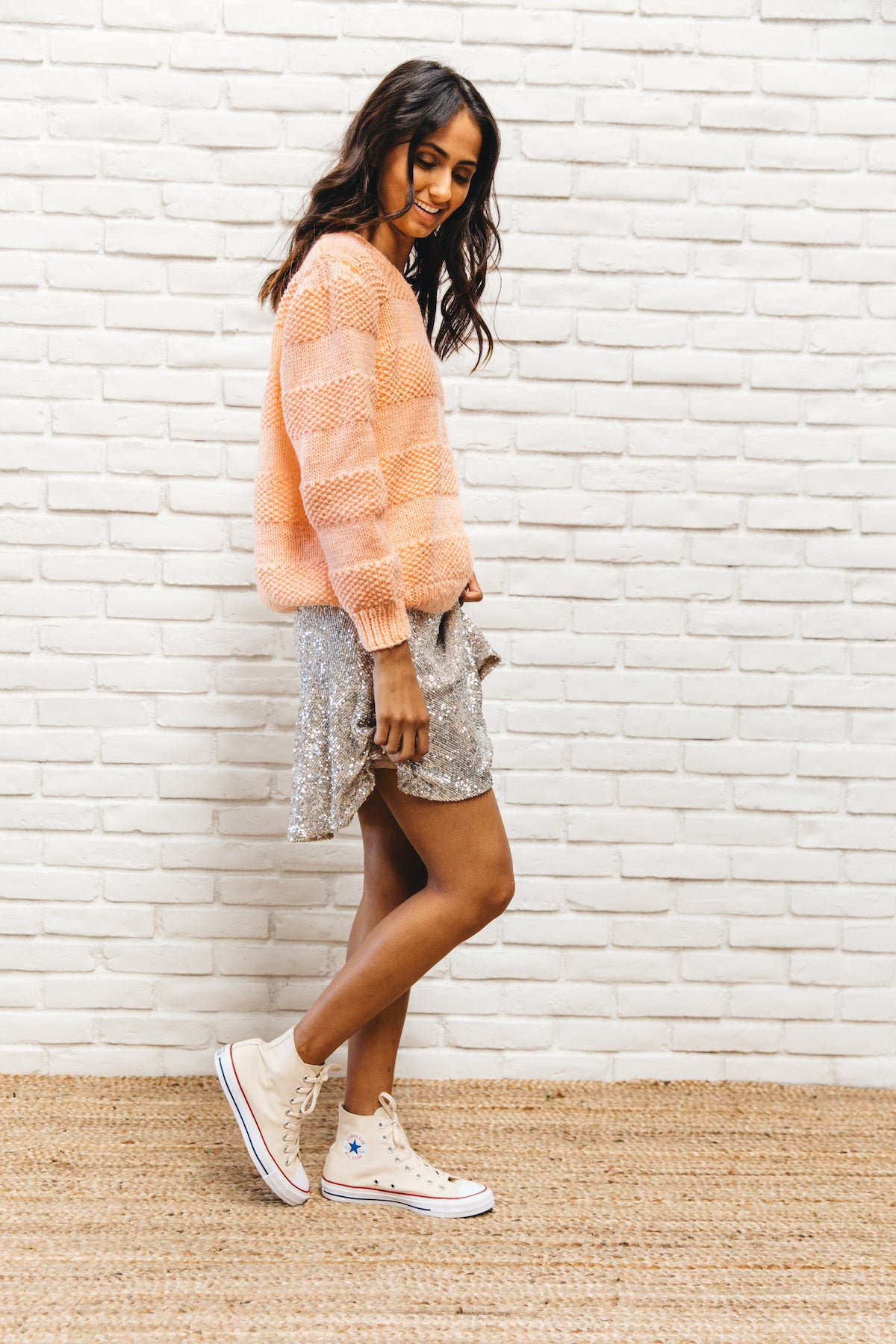 Vintage Bright Pastel Peach Sweater