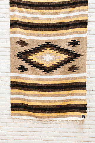 Limited Edition | The Santa Cruz Blanket: Mustard Yellow Diamond Heavy Weight Mexican Blanket