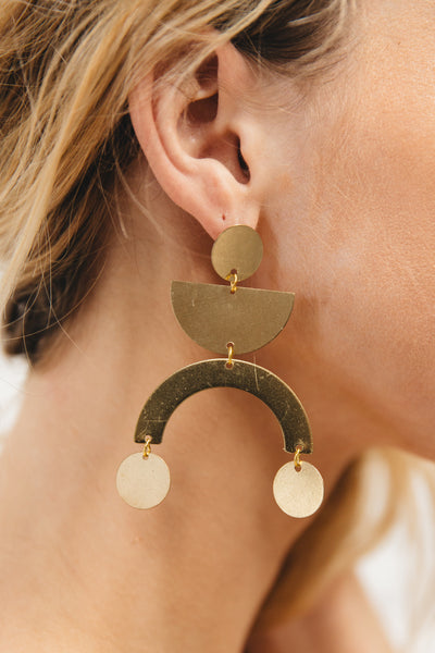 Brass Statement Arc + Curve Handmade Earrings