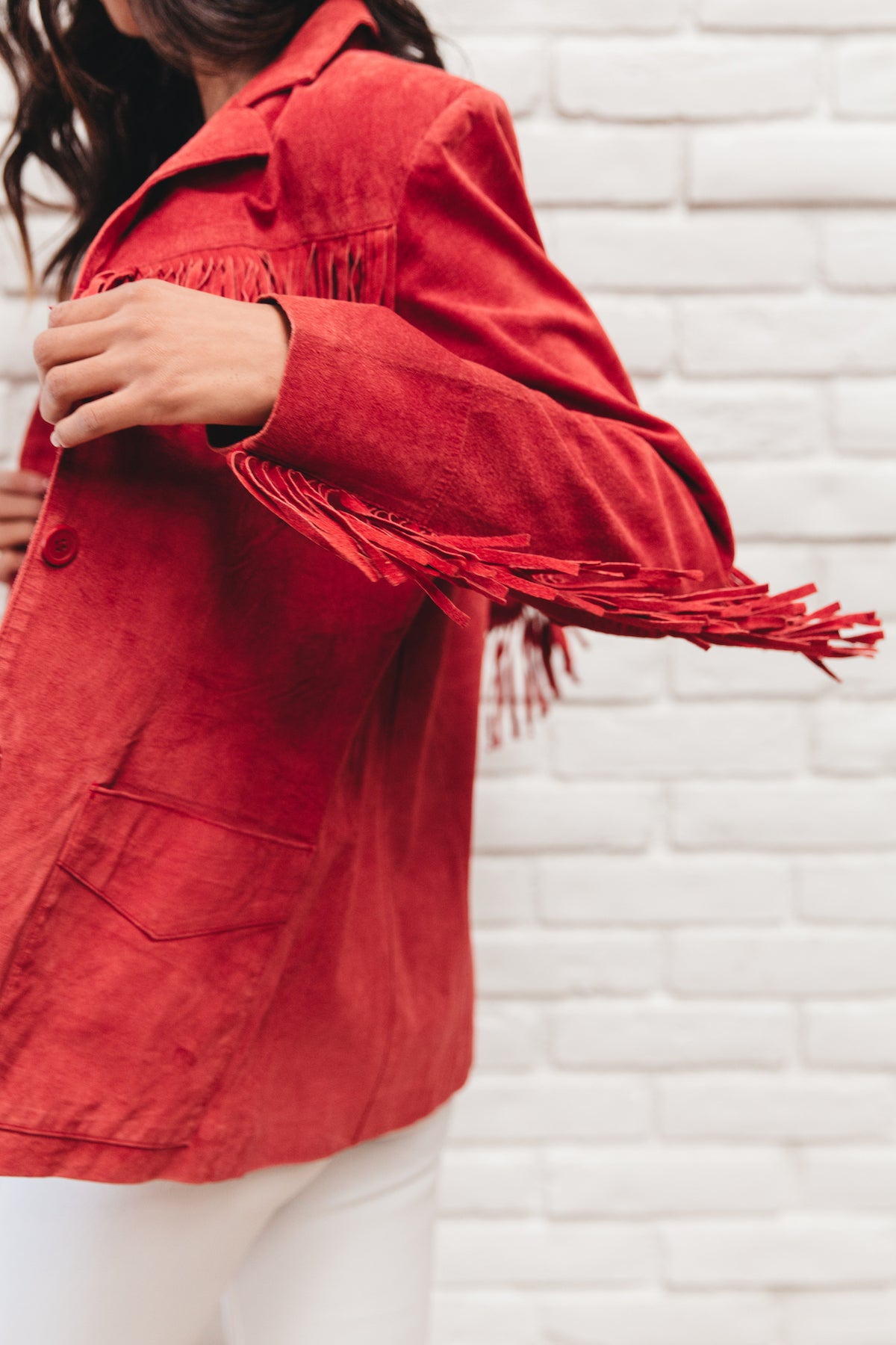 Vintage Red Leather Fringe Jacket