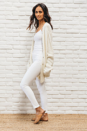 Vintage Cozy Oversized White Cardigan Sweater
