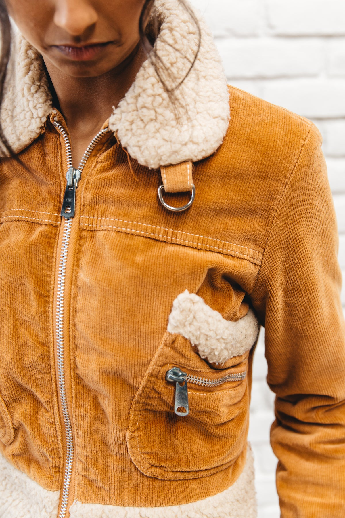 Vintage Camel Corduroy Cropped Coat With Shearling Accents