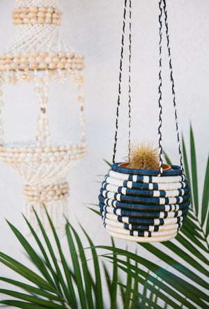 Navy & White Hanging Flower Pot Basket