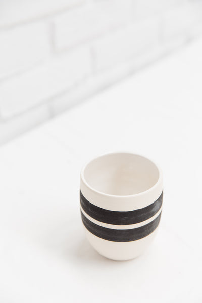 Bold Stripe Ceramic Tumbler Pot