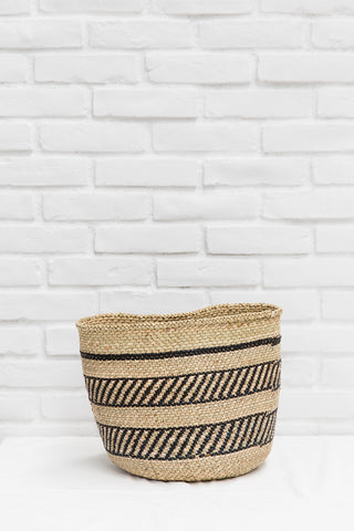 African Handmade Black Accent Basket