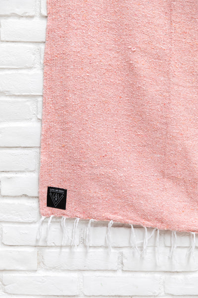The Palmilla / Grapefruit Pastel Pink Solid Mexican Blanket