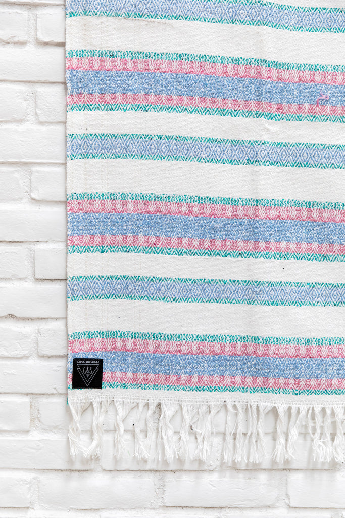 The Paraiso: Pastel Pink, Purple, Blue, Mint & Off-White Striped Mexican Blanket