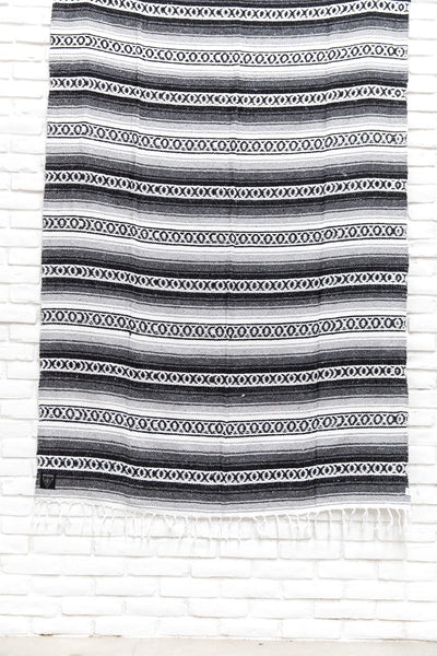 THE WHITECAP: Black, Grey & White Mexican Blanket
