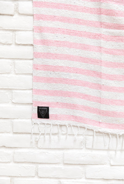 The Byron | Pastel Pink & White Striped Mexican Blanket