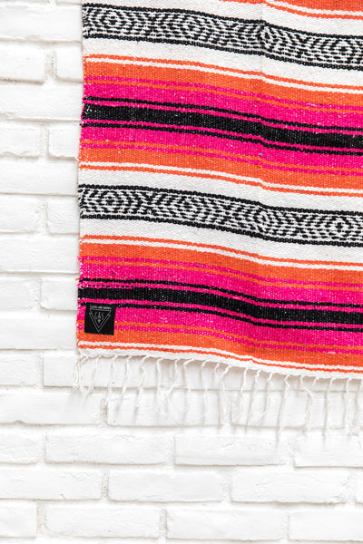 THE CAIRN: Orange, Pink/Magenta, Black & White Mexican Blanket