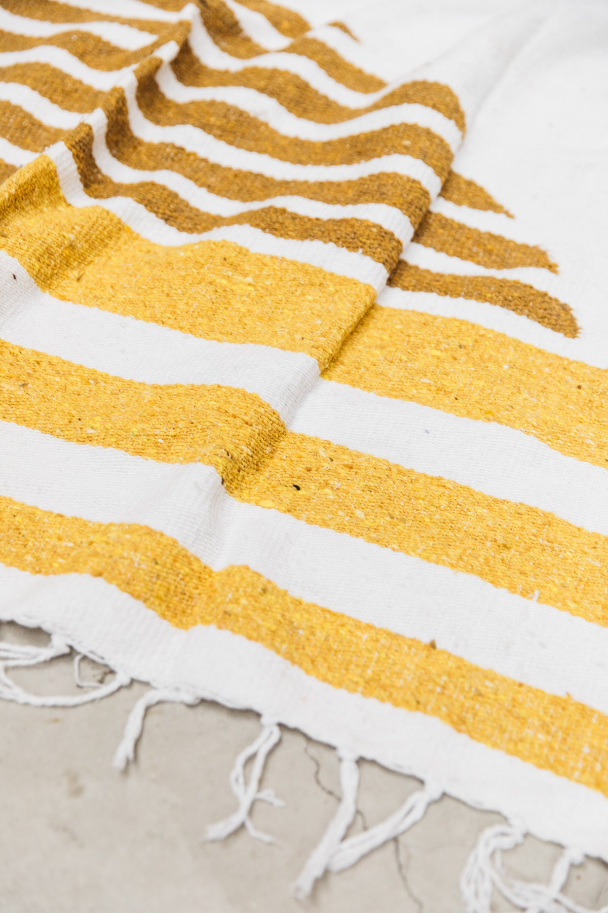 California Sunset: Yellow & White Striped Mexican Blanket