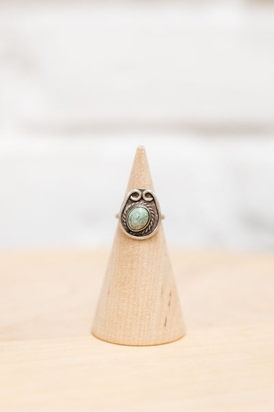 Vintage Native American Light Turquoise + Silver Ring