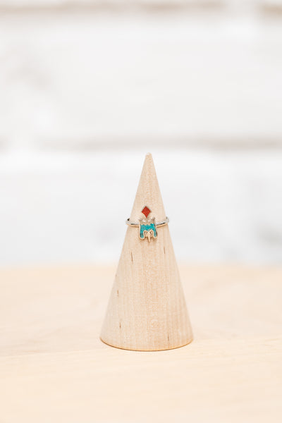 Native American Made Mother of Turquoise, Coral + Silver Thunderbird Ring