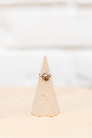 Vintage Native American Coral + Silver Flower Ring