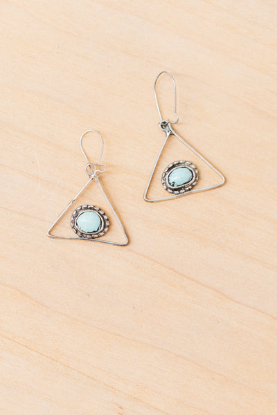 Vintage Geometric Turquoise and Silver Earrings