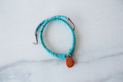 Santo Domingo Turquoise & Coral Choker Necklace