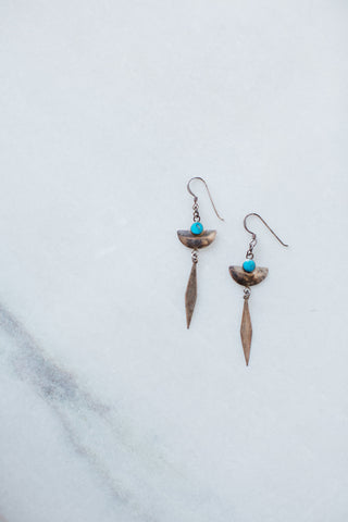 Vintage Sterling Silver & Turquoise Dagger Earrings