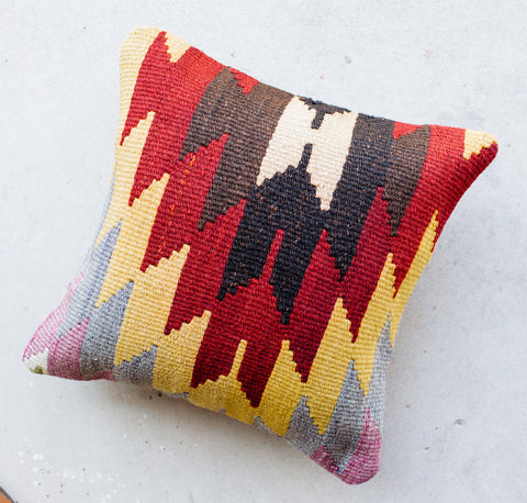 Vintage Bold Red Geometric Zig Zag Turkish Kilim Pillow