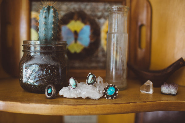 Vintage Light Green Turquoise & Silver Beaded Ring