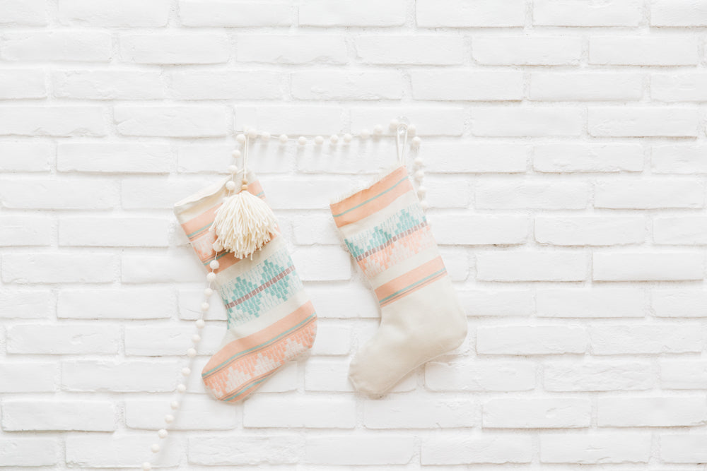 Sunny + Cheer Pastel Pink and Mint Christmas Stocking