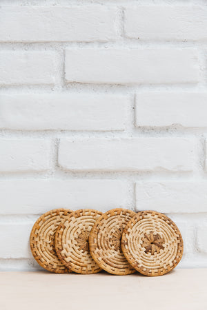 Vintage Woven Straw Coasters