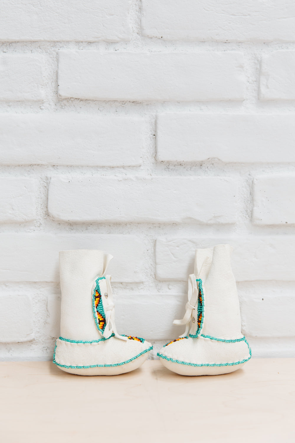 One of a Kind Native American-Made Baby Moccasins - White Suede Booties