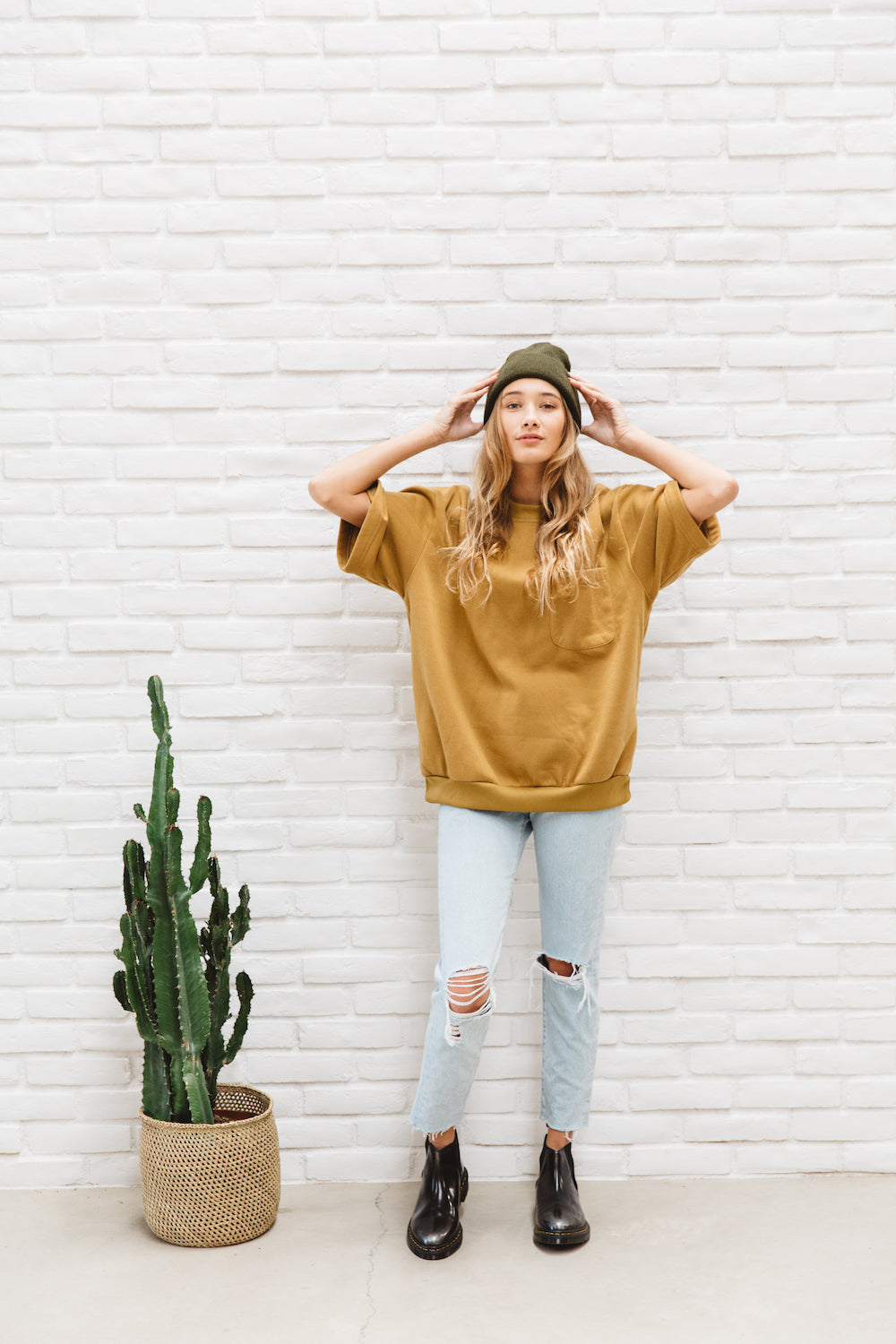 Vintage Oversized Cozy Mustard Yellow Short Sleeve Sweatshirt