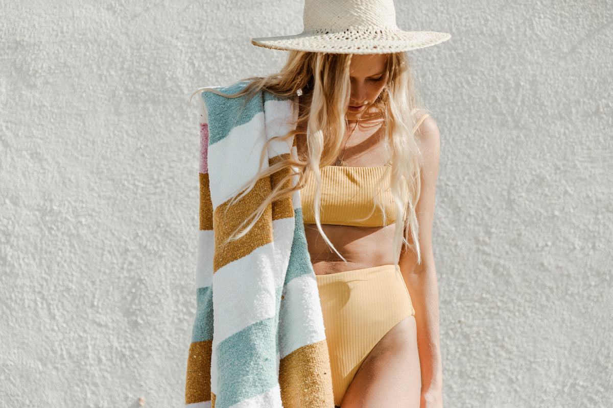 The Biarritz: Mint, Yellow, White & Pink Striped Mexican Blanket