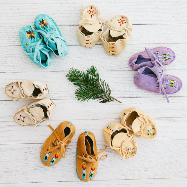 ONE OF A KIND NATIVE AMERICAN-MADE BABY MOCCASINS - Turquoise Suede